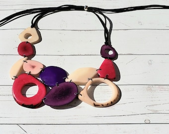 Tagua Purples and pink necklace /Statement bib necklace/ Blues bold  necklace/ Eco friendly jewelry /By Allie