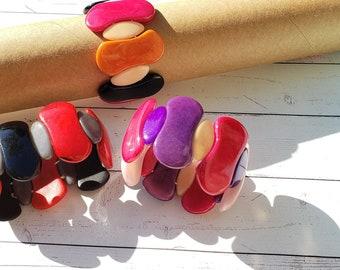 Ergonomic tagua nut curvy bracelets/summer bracelets/chunky bracelet/stretchy bracelets