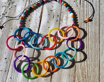 Chained tagua necklace/ chunky necklace/tagua jewelry/ layered necklace/statement necklace/infinity necklace/many colors/color block neck