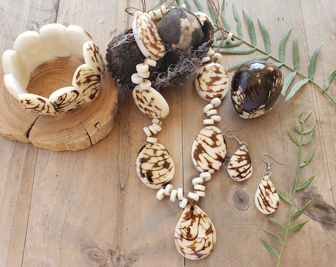 Featured listing image: Tagua nut natural vegetable ivory medallion necklace set /Rustic beaded necklace/ Statement Ivory necklace/Eco friendly vegan ivory necklace