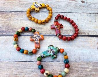 Cross  Colorful stretchy bracelet/ Tagua cross bracelet/ Christian gifts/ Catholic gifts/ Faith bracelet/Inspirational Gifts