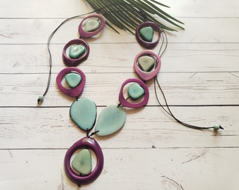 Rainforest Selva Tagua nut Aqua necklace / Bold Medallions necklace/Handmade jewelry/Statement necklace/Organic ecofriendly necklace