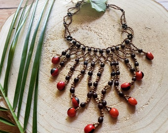 Waterfall necklace/ Tribal cascade Necklace/ Seeded necklace/ Rainforest Jewelry/ Ethnic necklace/ Amazonian necklace/ Boho jewel/Gift ideas