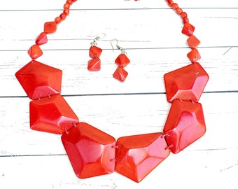 Geometric Necklace/ Tagua red necklace/Aqua Statement Necklace / Turquoise Handmade necklace/ Ecofriendly necklace/ Organic JEWEL by ALLIE