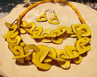 Unchained # 3, chained tagua  layers necklace/ rainbow necklace/ greens/ yellow necklace by ALLIE