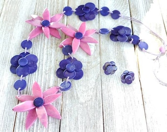 Poinsettias tagua nut long necklace set by Allie in striking purples/statement necklace/anchor necklace/ bridal jewelry