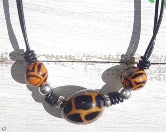 Choker necklace/ tiger choker /tagua nut choker/leather choker/ animal print choker/by Allie