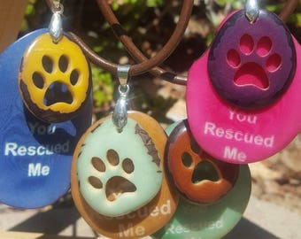 Tagua nut dog jewelry/t/dog tag necklace/ paw necklace/charity gifts/ dog gifts/ cute gifts/ gifts that give back