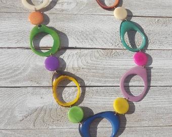 Calamari chain necklace, ocean colors necklace, long tagua necklace , blue and mint necklace/multicolor/by Allie