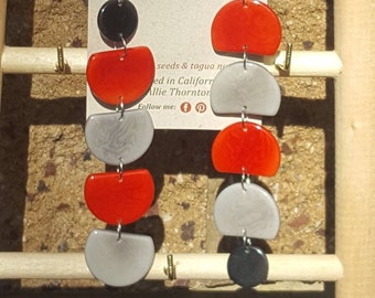 Dangling long tagua geometric earrings color block combos/many colors/mother's day gift/statement jewelry