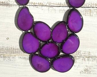 Tagua purple bib necklace/Statement bib necklace/ Pink and berry  bib bold necklace/Purple Necklace/ by Allie