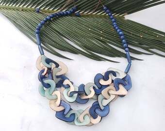 Chain tagua  layered necklace/ rainbow necklace/ greens/ yellow necklace by ALLIE/blue necklace/ Orange and yellow chain necklace