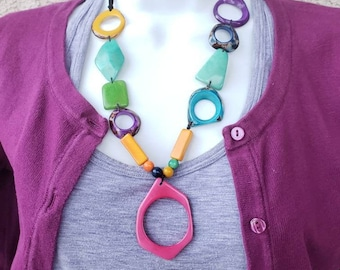 Tagua minimalist geometric necklace pendant glass holder by Allie rainbow/ gift idea/mother's day gifts