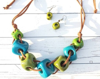 Minimalist cubic geometric tagua statement necklace set  by Allie