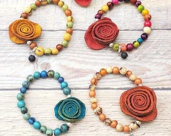 Orange peels beaded bracelets/ Acai Lava bracelet/Oil Diffuser bracelet/Yoga Meditation Jewelry/Chakra bohemian jewelry/Friendship bracelet