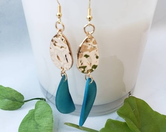 Minimalist gold earrings/Hammered gold tagua earrings/ Tagua half moon earrings/ Leaf Dangle gold earrings/14k gold filled hook earrings