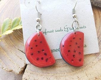 Tropical Fruit Earrings/ Tagua Earrings/ Palm tree earrings/ Pineapple earrings/Pear earrings/Apple earrings/ Bananas Earrings/ by Allie