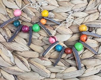Big hoop Tagua earring/Tribal Earrings/ Statement big earrings/Eco Friendly/Tiki earrings/ Coco & acai Earrings/Large hoop earrings/by Alli