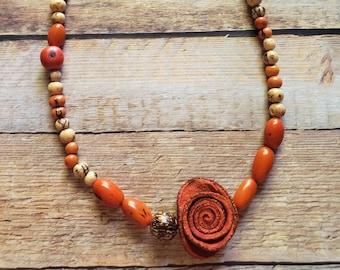 Orange peels orange rose necklace/Statement Asymmetrical necklace/ Oil Diffuser jewelry/ Aromatherapy necklace/ Organic acai necklace