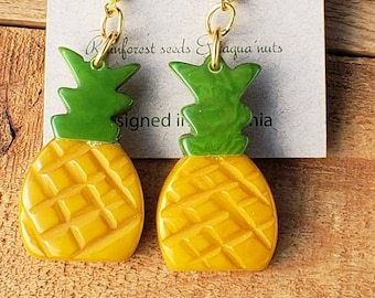Tropical fruit earrings/ palm tree, pineapples, banana fruits earrings/ tagua nut earrings/ lemon earrings