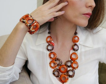 Tagua bib calamari rings resin necklace in many colors by Allie