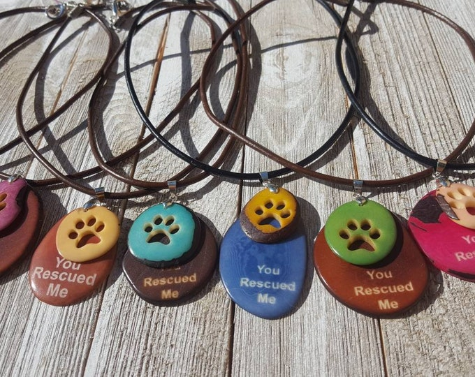 Tagua nut dog jewelry/dog tag necklace/ paw necklace/charity gifts/ gifts/ unique gifts/ holiday gifts/dog lover  gifts