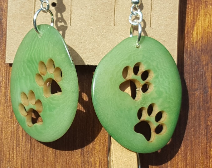 Tagua paw earrings/ dog jewelry/ girls gifts/gifts that give back/ cute gifts/dog gifts/charity gifts