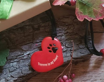 Pet memorial JEWELRY/ Paw TAGUA pendant/Dog or cat lovers Gift/Inspirational jewelry/ Forever in my heart pet memorial jewelry/Gifts giving