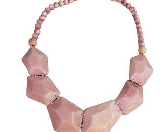 Tagua minimalist geometric necklace/ Bold Pink necklace/ Handmade jewelry/ Statement Necklace/ Yellow geometric necklace/Pentagons necklace