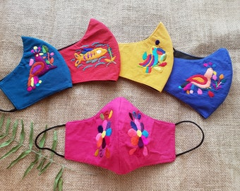 Embroidered breathable cotton masks / Ethnic Reusable masks/ Double layer mask with sewn filter/ Washable Adults or kids masks from USA