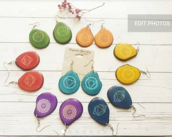 Colorful Tagua 7 Chakras Earrings / Dangle Boho Earrings/Gift ideas/Everyday Earrings/Colorful tagua earrings/Spiritual Yoga Earrings