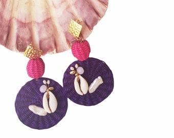 Statement OOAK  purple straw earrings / Rattan handmade earrings/ Wicker disks earrings/Shells earrings/Beach earrings/Ocean beach jewels