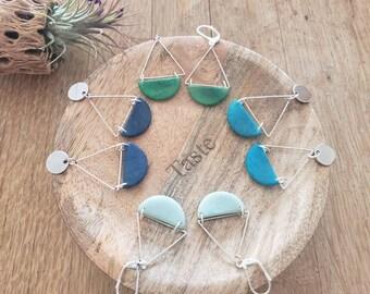 Geometric modern tagua earrings/Minimalistic Triangles earrings/ Silver tagua hypoallergenic earrings/ Dangle long earrings