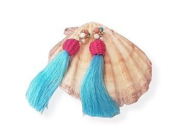 Beaded Super long turquoise tassels earrings/OOAK Straw rattan pink earrings/Handmade wire wrap earrings/Beach straw earrings/Eco jewelry
