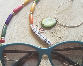 Personalized Sunglasses holder /Cat mom gifts/Eye glasses chain/Tagua Love kitties eye glasses necklace holder/Kitten jewelry for cat lovers
