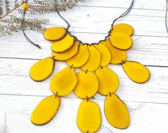 Tagua cascade yellow necklace/ Statement necklaces/ Tagua red necklace/ Red waterfall /Blush pink necklace/ Handmade jewelry