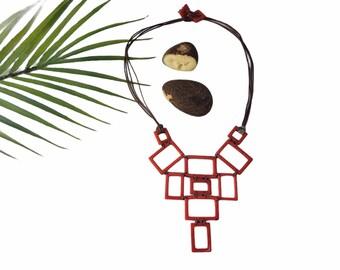 Geometric bib tagua RED neckace/ Minimalist tagua necklace/Tagua red necklace/Statement ecojewelry fair made necklace