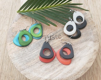 Small hoops tagua Earrings/ Tagua overlapped donuts earrings/Calamari rings tagua earrings/Colorful earrings/Gifts for her