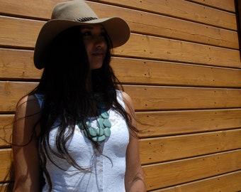 Tagua aqua long necklace/ Statement necklace/ Long bold necklace/Multicolor necklace/ Blue necklace/Ecojewel