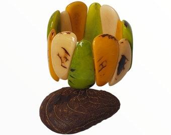 Geometric Tagua bracelet/Stretchy bracelet/ Vintage style bracelet/Bold Tagua bracelets/Colorful bracelet / Curvy Chunky Funk bracelets