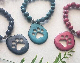 Paw print tagua bracelet/ Dog lover gift ideas/Bracelets for a cause/charity gifts/ Christmas gifts for pet parents/ GIfts for cat moms/
