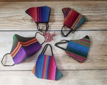 Aztec native american ethnic serape mask with  3 layers pocket and filter included/ ships from USA