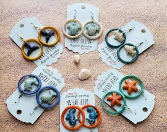 Ocean jewelry/ Beach jewelry / tagua earrings/Ocean earrings/Seahorse earrings/ dolphin earrings/whale tail earrings/ white shark earrings