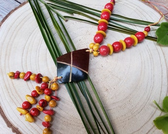 Bohemian Tribal necklace/ Chunky Tagua Necklace/ Eco friendly jewelry gifts/Acai natural Necklace/Red Necklace/Tribal  Rustic jewelry/ALLIE
