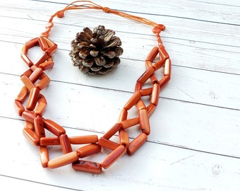Gift ideas for mom/ Mothers day gift/ Flamingo color necklace/ Spring necklace/ Statement chunky tagua nut necklace/ Eco jewelry