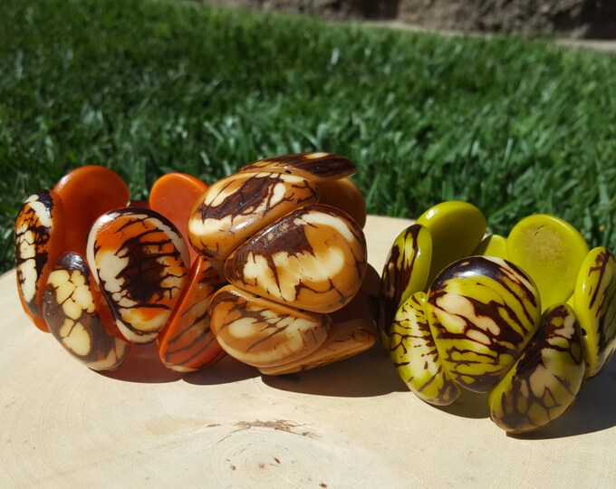 Ergonomic tagua nut drops bracelet marble natural look ecofriendly/tagua jewelry/tagua bracelet