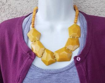 Tagua diamonds necklace/pentagons statement necklace set  / geometric necklace/  by ALLIE