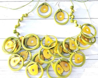 Tagua necklace 3 layers rings green  necklace set avocados necklace by Allie