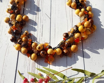Acai crochet necklace with Aventurine & agate chips/bridal necklace/ gift ideas /handmade necklace by Allie