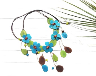 Flowers waterfall statement necklace/ Tagua Flowers bold necklace/ Ecofriendly  necklace/ Gifts for mom/Ecofriendly handmade gifts ideas